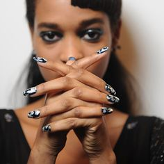 Nail Polish Trends | London Fashion Week Fall 2013 | POPSUGAR Beauty  Black base and silver and gold metal