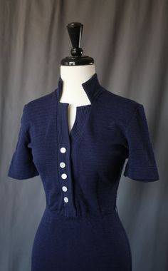 Lovely Fitted Navy Blue 1940s Style Vintage Wiggle Dress -- 1950s 1960s Rockabilly Pinup VLV Mad Men --