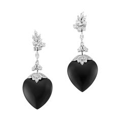 Pair of Platinum, Diamond and Black Onyx Pendant-Earclips   14 marquise-shaped & 54 round diamonds ap. 4.50 cts., heart-shaped black onyx ap. 27.0 x 26.0 mm., pendants detachable.