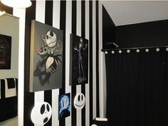 my nightmare before christmas bathroom my hubby painted the walls and the rest is my collection of over 10yrs halloween pinterest christmas bathroom - Nightmare Before Christmas Bathroom