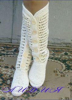 Обувь ручной работы. Ярмарка Мастеров - ручная работа. Купить Льняные вязаные женские сапожки.. Handmade. Белый