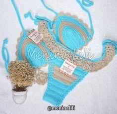 Biquíni de Crochê Babadinho Crochet Lingerie, Crochet Bikini, Irish Crochet, Knit Crochet, Mountain Designs, Crochet Clothes, Hand Stitching, Crochet Projects, Crochet Earrings