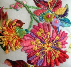 """An earlier pinner's caption """"fiberluscious""""  I like that for this gorgeous embroidery. ;) Mo"""