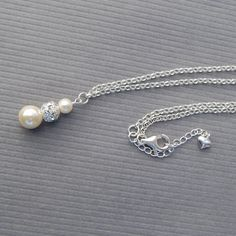 Bridal Jewelry Pearl Necklace Ivory Pearl Rhinestone by AMIdesigns