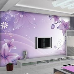dreaming violet flowers wall mural for girls room wallpaper wonderful pohto wallpaper 3d Wallpaper For Bedroom, 3d Wallpaper Mural, Girl Wallpaper, Room Wall Colors, Wall Paint Colors, Home Entrance Decor, Home Decor, Wall Paint Patterns, Living Room Tv Unit Designs