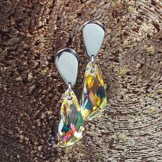 Crystal AB - Swarovski Crystal Wing earrings - Surgical Steel Jewelry by SteelJewelryShop on Etsy