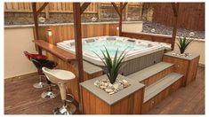 Hot Tub Gazebo, Hot Tub Backyard, Hot Tub Garden, Backyard Pools, Garden Bar, Pool Landscaping, Whirlpool Bar, Hot Tub Bar, Hot Tub Surround