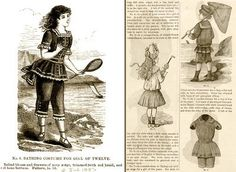 <3 Bathing Costume for Girl of Twelve, 1883 (left) and Childrens Seaside Costumes, July 1883 (right) - <3