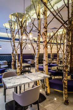 How do you give a restaurant a natural and organic look? Put four metre high birch trees in it of course!
