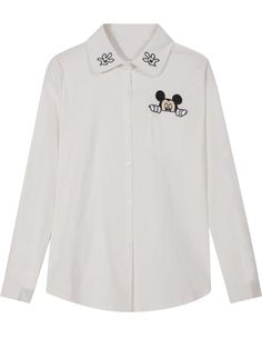 White Lapel Long Sleeve Mickey Embroidered Blouse 14.83