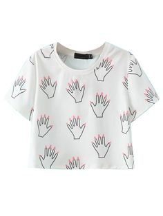White Palms Print Short Sleeve Cropped T-shirt