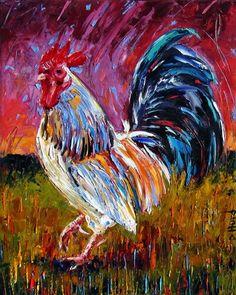 Rooster Art Original Oil painting farm animal paintings fine art by Debra Hurd, painting by artist Debra Hurd