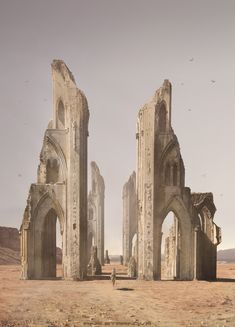 ☲ 'Desert Temple' by Irina Starinova ____ # Fantasy Places, Fantasy World, Fantasy Art, Desert Temple, Modelos 3d, Fantasy Setting, Fantasy Landscape, Environmental Art, Cthulhu