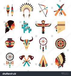 Illustration of Ethnic american idigenous tribal amulets and symbols icons collection with native feathers headdress abstract isolated vector illustration vector art, clipart and stock vectors. Native American Patterns, Native American Symbols, Native American Design, Native American Crafts, Native Design, American Indian Art, Native American Indians, Native American Drawing, Native Symbols