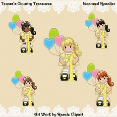 Fourth Birthday Girl in Yellow Dress #Clipart