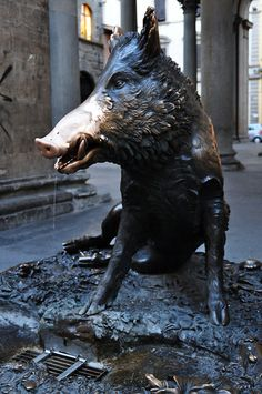 """Bronze statue of """"Il Porcellino"""" in the Mercato Nuovo - Florence, Italy. Capri Italy, Naples Italy, Sicily Italy, Sorrento Italy, Tuscany Italy, Venice Italy, Pisa, Rome City, Vatican City"""