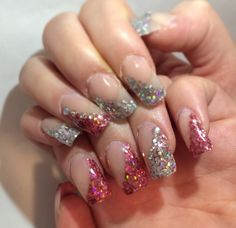 Pink an silver glitter square nails with crystals