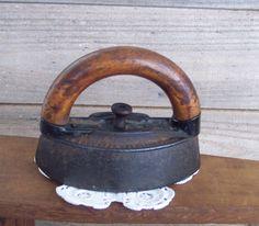 Antique Wood Handled Cast Iron Clothing Iron