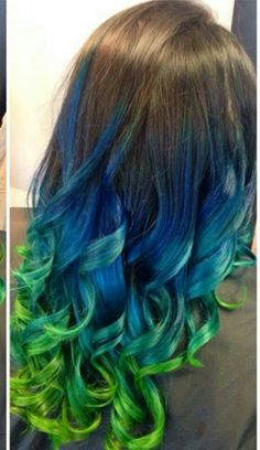 blue green ombre dip dyed hair color @iluvpibbles