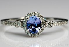~Genuine Tanzanite  Diamond Victorian Engagement Ring In 14K White Gold Size N~