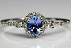 ~Genuine Tanzanite & Diamond Victorian Engagement Ring In 14K White Gold Size N~