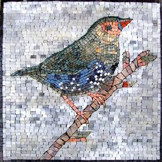 This is a hand-made marble mosaic of a colorful bird sitting on a tree limb. It is composed of all natural stones and hand cut art tiles.