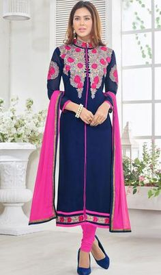 Blue Colored Desirable Designer Embroidered Faux Georgette Suit