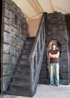castle staitcase scenery prop decoration mediaeval theme stairway