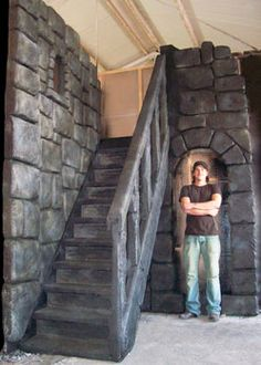 castle staircase scenery prop decoration mediaeval theme stairway sculpted polystyrene and reinforced plaster. Tentacle Studio