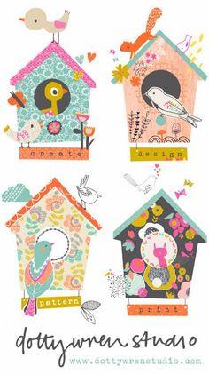 PRINT & PATTERN-dotty+wren+birdhouses.jpg 400×715 pixels