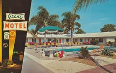 Grant Motel - St. Petersburg, Florida  1960's postcard
