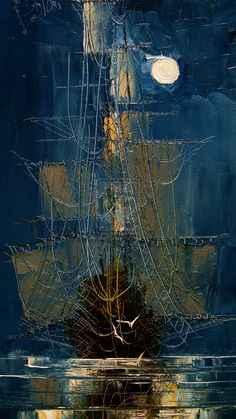 Abstract Sailboat by Justyna Kopania Ship Paintings, Landscape Paintings, Fantasy Kunst, Nautical Art, Painting Gallery, Ship Art, Oeuvre D'art, Canvas Art Prints, Art Pictures