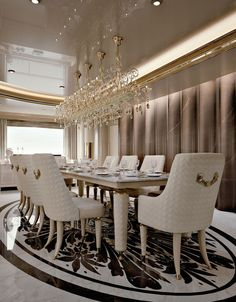 Numero Tre Collection http://www.turri.it Luxury yacht dining room furniture