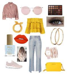 A fashion look from September 2017 featuring off shoulder blouse, pink jacket and denim jeans. Browse and shop related looks. Adriano Goldschmied, Morphe, Lime Crime, Charlotte Russe, Polyvore Fashion, Topshop, Michael Kors, Nike, Clothing