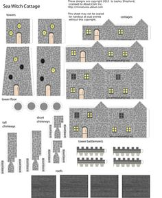 Printable Glitter Houses | Make 1:144 Scale Printable Towers and Cottages for a Glitter Village
