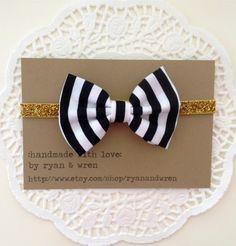 headband- black and white striped bow