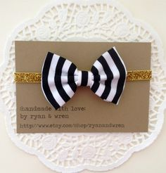 headband- black and white striped bow