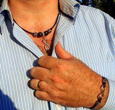 PARURE homme cuir noirCollier & bracelet symbole INFINI