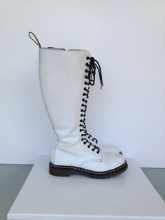 Vintage Dr. Martens Airwaves White Leather High Boots, Size 8