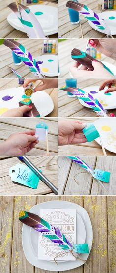 DIY Festival Feather Place Setting wedding decoration diy feather wedding ideas…