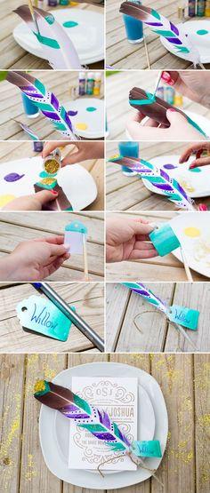 DIY Festival Feather Place Setting wedding decoration diy feather wedding ideas…