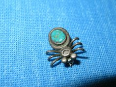 Navajo Sterling Silver & Turquoise Native American Indian Spider Brooch / Pin