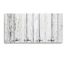 perchero de pared blanco con dobles y diseo blanco con tablones de madera