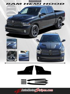 Vehicle Specific Style Dodge Ram Truck Hemi Hood Blackout Accent Vinyl Graphic Stripe Decals Year Fitment 2009 2010 2011 2012 2013 2014 2015 2016 Contents Hood