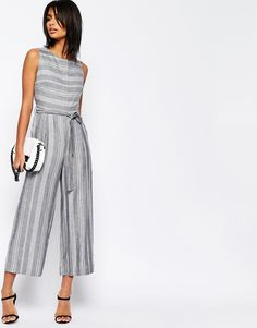 Image 2 of ASOS Stripe Jumpsuit in Natural Fabric