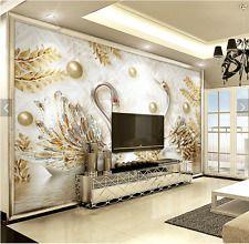 3D Sitting room bedroom TV background Embossed flowers jewelry wallpaper BQ828