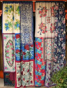 #vintage #hankies sewn together to make #curtains.  I love the idea for keeping the prep area closed off for tea!
