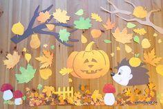 Herbst-Herbstliches-Fensterdeko-Fensterbild-Fenster-Dekoration-Bild-Kürbis-Blätter-Igel-Pilze-Pilz-Blatt-Herbstblatt-gelb-orange-braun-Herbstfarben-rot-Kinderzimmer