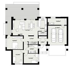 DOM.PL™ - Projekt domu TP Temida 3 CE - DOM TP1-46 - gotowy koszt budowy Dream House Plans, House Floor Plans, One Storey House, Architecture, House Tours, Future House, Planer, Sweet Home, New Homes