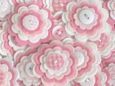 Pretty felt flower embellishments add a special touch to your craft projects from hair accessories to decorating photo frames, purses, pillows and much more. {D E T A I L S } * You will receive 3 x BABY GIRL felt flowers. You may not receive the exact ones as shown but they will still be just as cute :) * Each one is made using 4 layers of felt with a cute button sewn on top * I use a mix of felt - acrylic, wool mix etc * The measure approx 1.5 each * The individual layers measure 1.5…